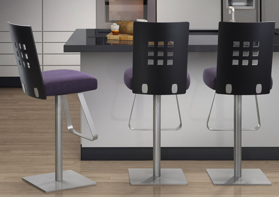 Trica Marina Brushed Steel And Wood Bar Stool Alfa Dinettes