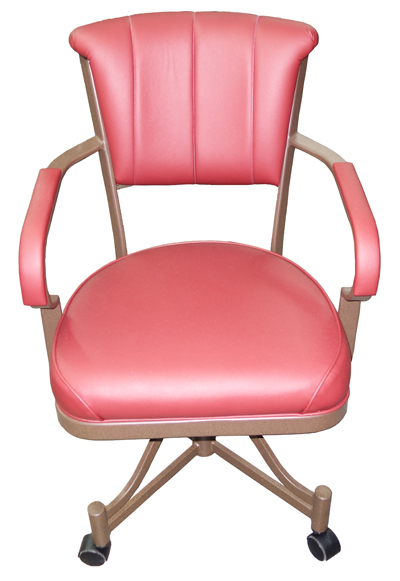 Custom Metal Frame Caster Chair With Arms 846 Alfa Dinettes