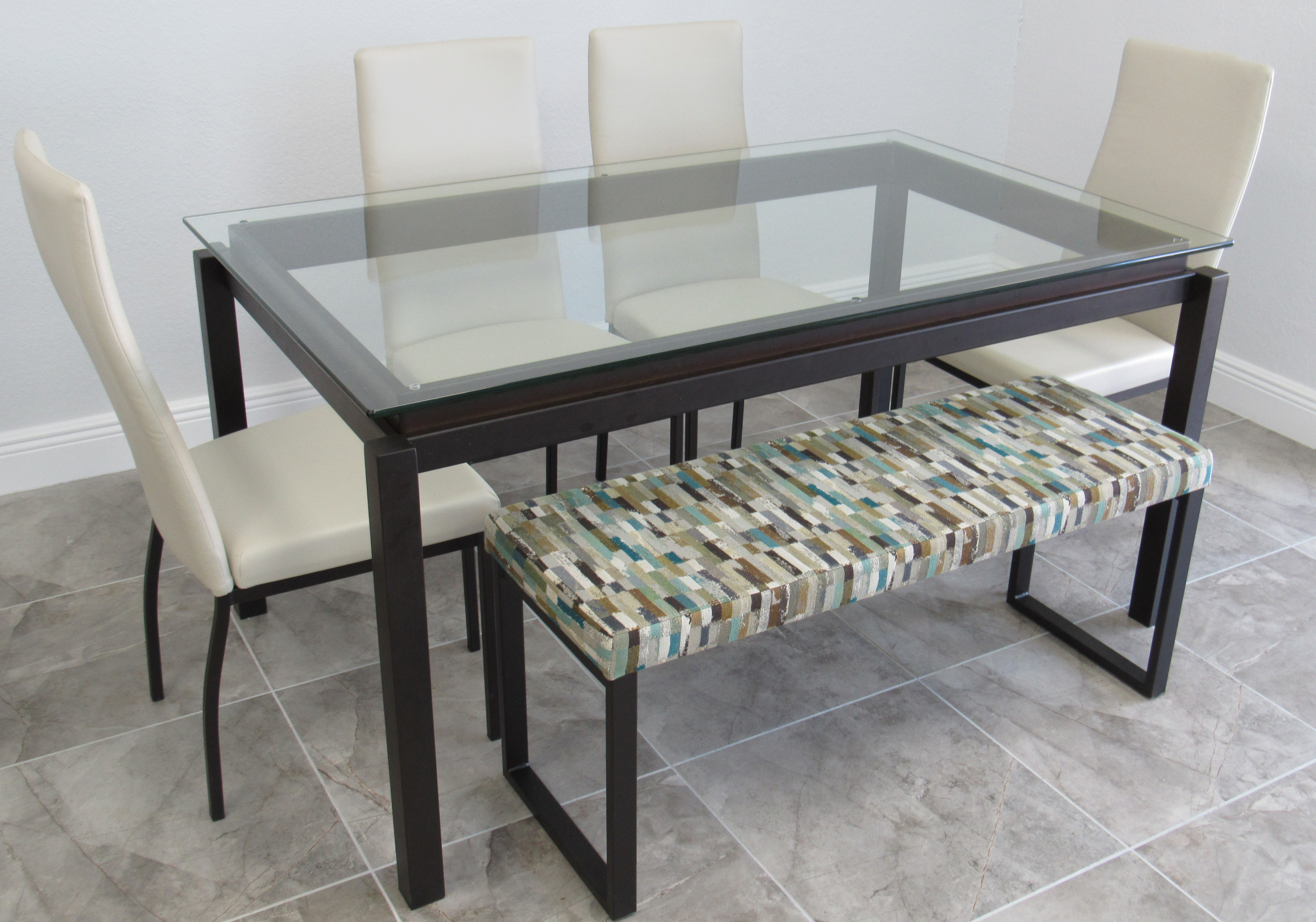 Amisco 36x60 Glass And Bench Table