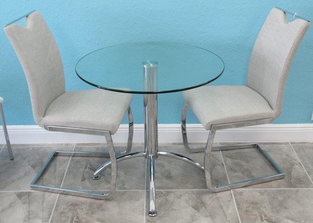 898 Small Chrome Glass Condo Table Set Alfa Dinettes