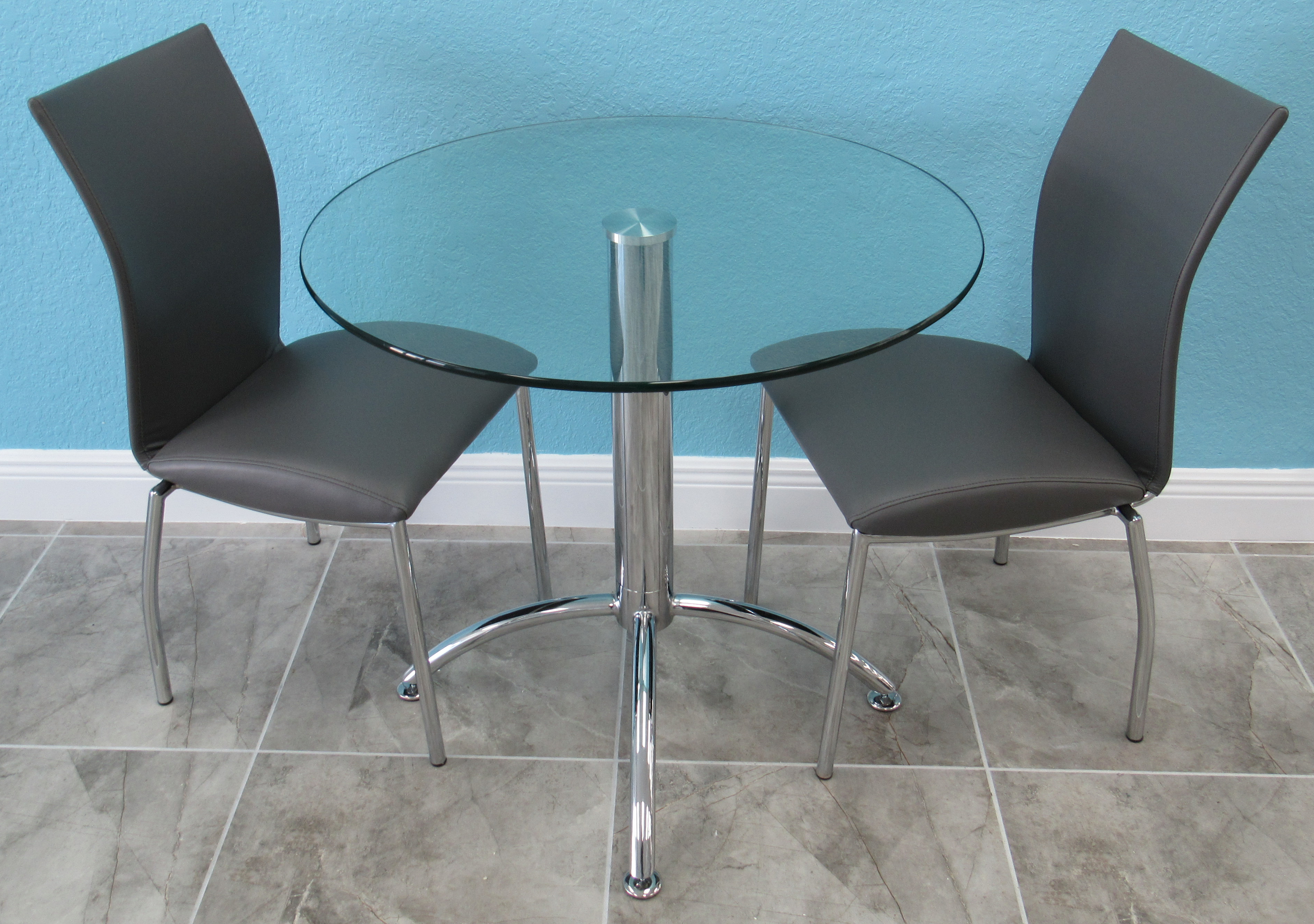 Small Glass 30 Inches Round Dinette Set With 2 Chairs